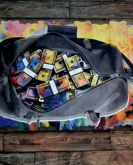"""Картина """"Деньги в сумке"""""""